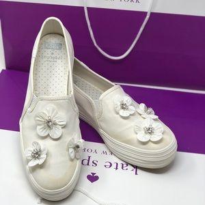 Kate Spade bridal triple decker sequin flower shoe